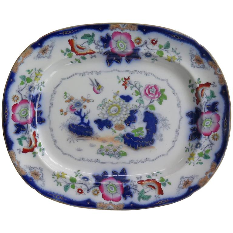 19th C. F. Morley & Co. Mason's Ironstone Platter or Large Plate Chinoiserie