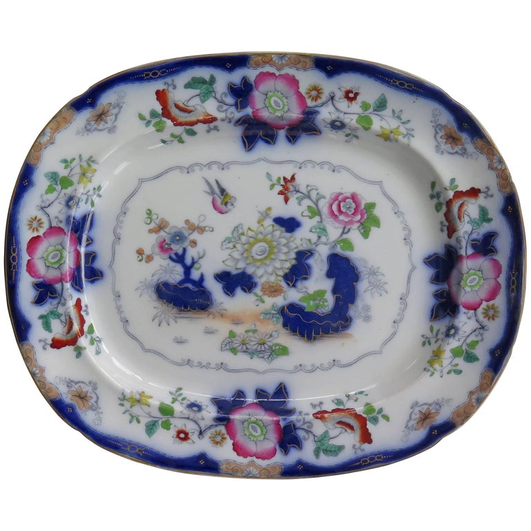 Mason's (F Morley & Co) Ironstone Platter hand painted Chinoiserie, Ca 1850  For Sale