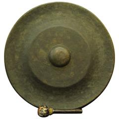 Japanese Big Antique Hand cast Bronze Garden Gong Soothing Deep Sound