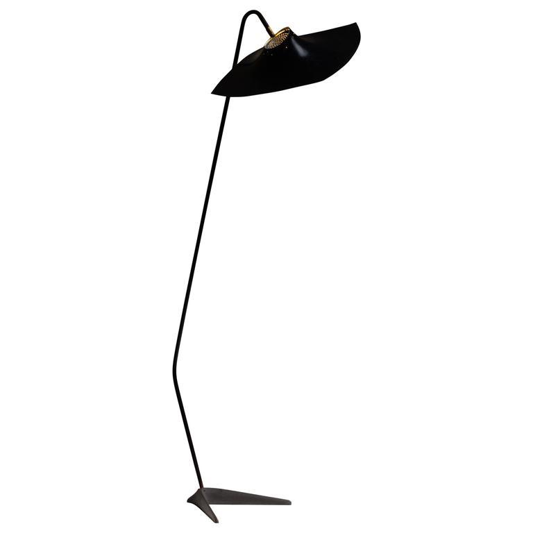 'Manta Ray' Black Metal Floor Lamp, France, 1950s