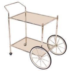 Faux Bamboo Chrome and Glass Bar Cart