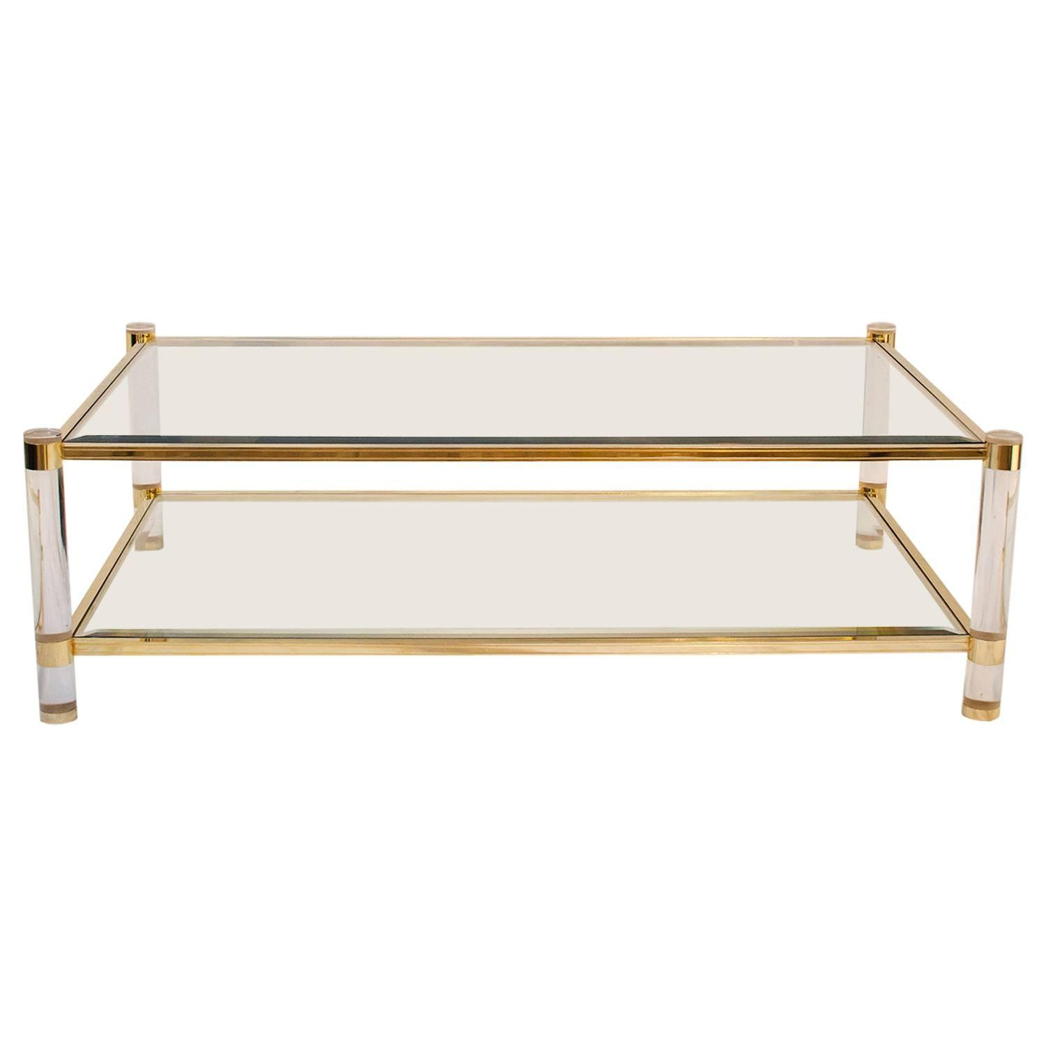 Lucite and brass coffee table france 1970s at 1stdibs for Lucite and brass coffee table