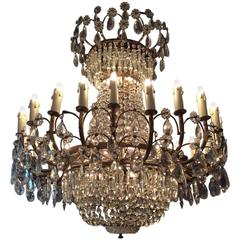 Crystal Chandelier with 24 Arms of Light, France, circa 1940