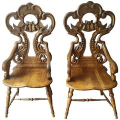 19th Century Baroque Revival Carved Wood Chairs