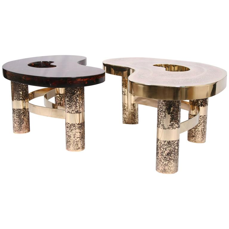 Artimeta Attributed Square Metal And Glass Coffee Table At: Coffee Table Beann, Etched Brass And Fractal Resin