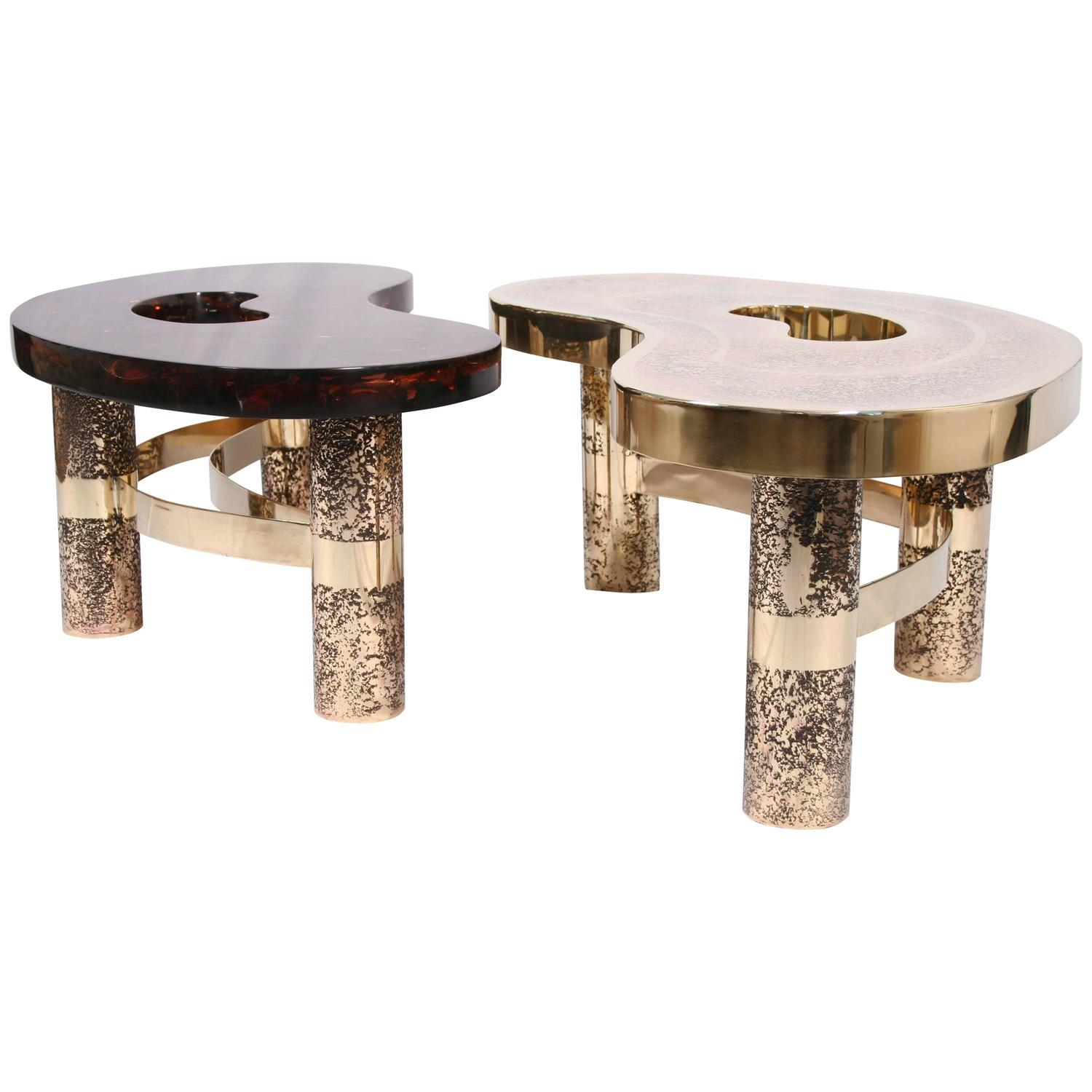 Coffee Table Beann Etched Brass And Fractal Resin Designed By Arriau For Sale At 1stdibs