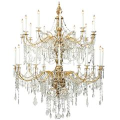 Italian 18th Century Genovese Mecca, Gilt Iron, Crystal Two-Tier Chandelier