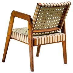 Armchair by Klaus Grabe with Webbed Linen, USA, 1950s