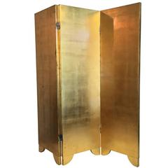 Small 1970s-1980s Gold and Silvered Three-Fold Screen