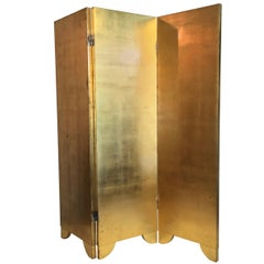 Small Vintage Gold Leaf and Silver Leaf Three-Fold Wooden Screen, UK circa 1970s