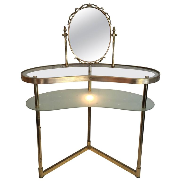 Vanity Lights Table : 1950s Italian Brass Dressing Table / Vanity with Light at 1stdibs