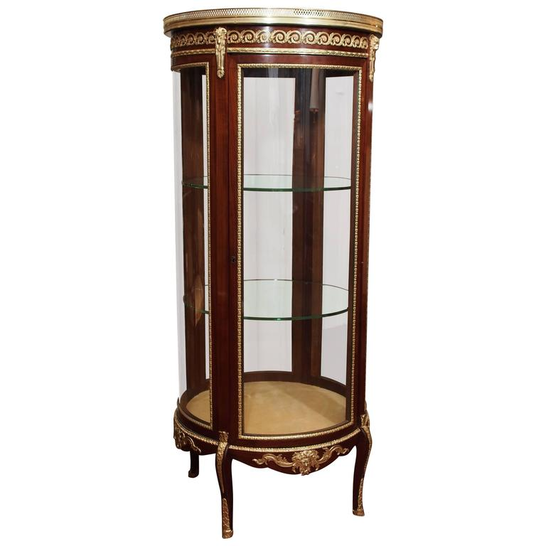 Antique French Mahogany Display Cabinet with Bronze Trim, circa 1890 - Antique American Victorian China Cabinet With Curved Glass Display
