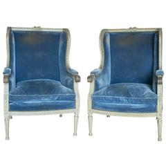Pair of 19th Century French Louis XVI Style Bergere Chairs