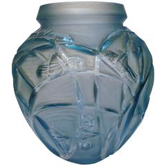 Art Deco Rene Lalique Sauterelles Glass Vase