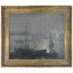 "Oil on Canvas ""Sardine Nets at Moonlight"" by Impressionist Henry Wilson Irvine"