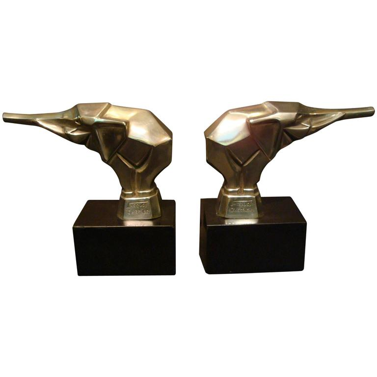 Jacques Cartier Art Deco Elephant Bookends