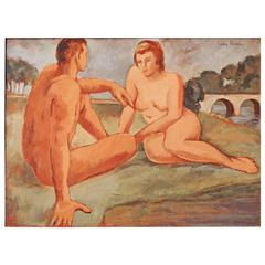 """Nudes with Arched Bridge,"" WPA Period Painting by Rodda, 1930s"