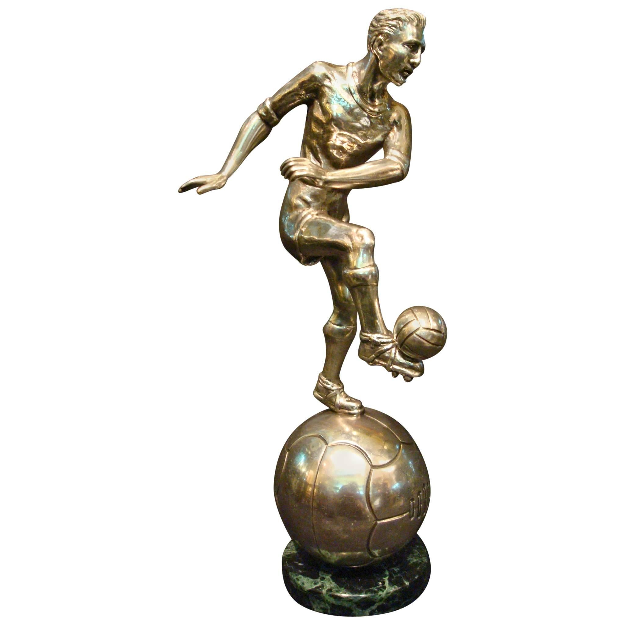 Football / Soccer Trophy Player Italian Bronze Sculpture, 1930s