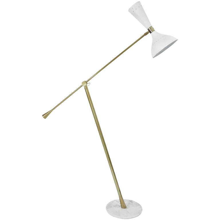 Italian Floor Lamp by Arredoluce with Brass Articulating Arm on Marble Base
