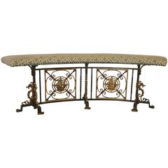 Iron and Bronze Curved Bench, 1920s Nautical Style Attributed to Oscar Bach