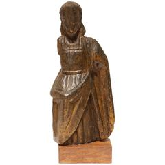 """19th Century Hand-Carved Wood Fragment Santo """"Dios Padre"""""""