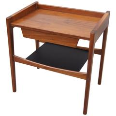 Rare Walnut and Leather Low Side Table by Jens Risom