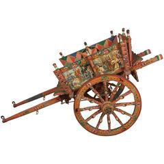 Ornate and Colorful Italian Processional Donkey Cart, circa 1855
