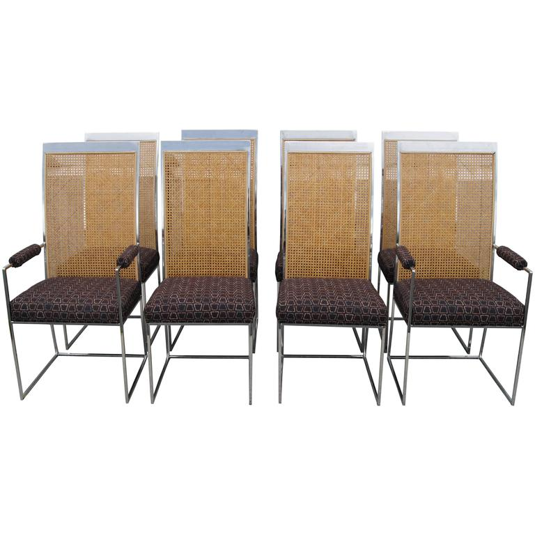 Set of Eight High-Back Cane Dining Chairs by Milo Baughman for Thayer Coggin