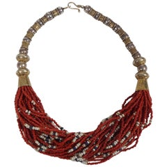 Pearl, Coral and Lapis Twisted Multi-Strands and Silver Bead Necklace