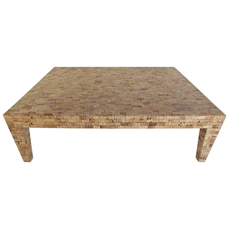 Large Mid Century Style Tesated Cork Coffee Table For