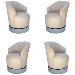 Set of Four Leather and Chrome Barrel Chairs by J. Robert Scott