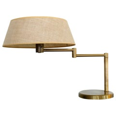 Brass Swing Arm Desk or Table Lamp by Walter Von Nessen
