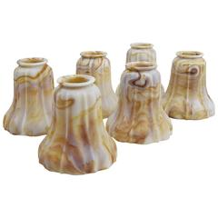 Caramel Kokomo Art Glass Shades Set of Six