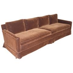 Mid-Century Modern Grand Sofa, Reupholstered in Chocolate Mohair, Goose Down