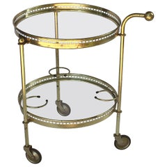 French Round Drinks Cart of Brass and Glass