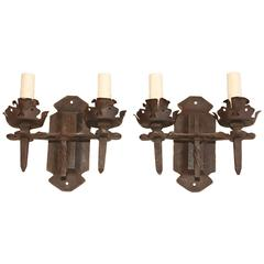 Beautiful 1920 Rustic Handmade Wrought Iron Sconces