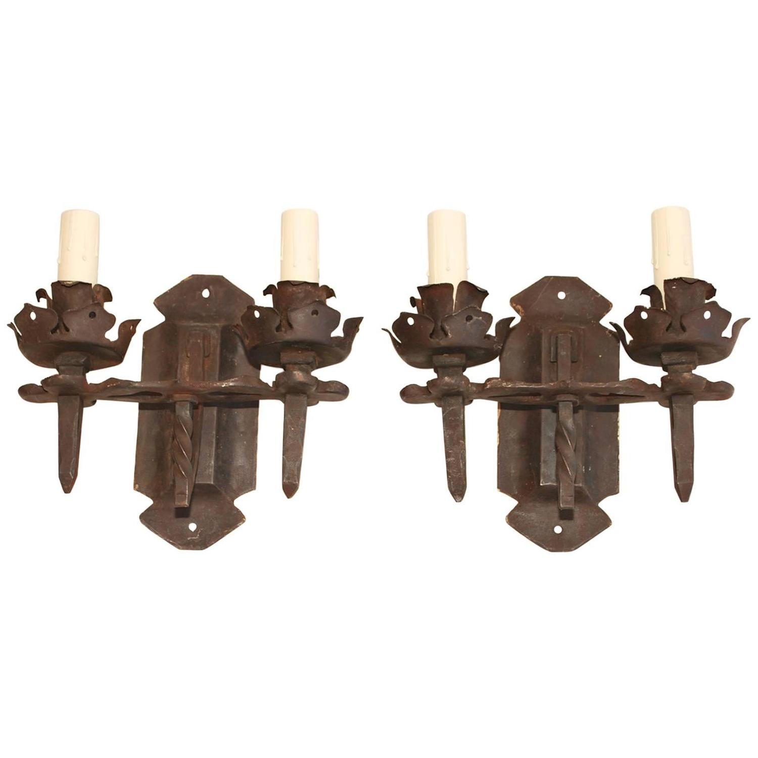 Handmade Metal Wall Sconces : Beautiful 1920 Rustic Handmade Wrought Iron Sconces For Sale at 1stdibs