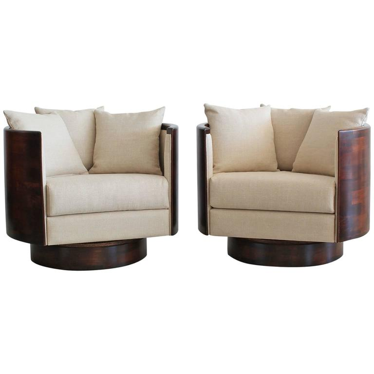 hancock barrel back swivel chairs for sale at 1stdibs. Black Bedroom Furniture Sets. Home Design Ideas