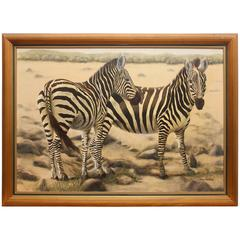 """""""African Zebra"""" Large Oil Painting by Audrey Rosenthal"""