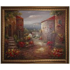 Signed Oil Painting, Large in a Gold Frame with Brown Accents