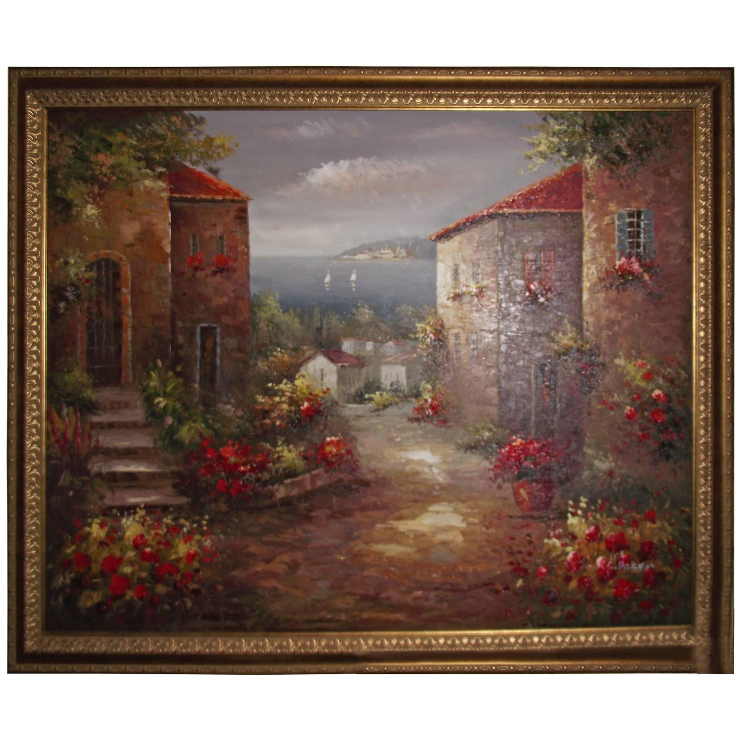 Signed Oil Painting, Large in a Gold Frame with Brown Accents For Sale ...