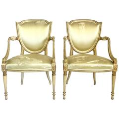 Pair of 18th Century French Louis XVI Gilt Wood Shield Back Arm Chairs