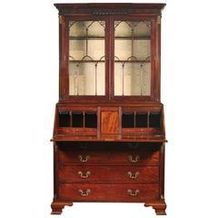 Fine George III Mahogany Brass-Mounted Bureau Bookcase