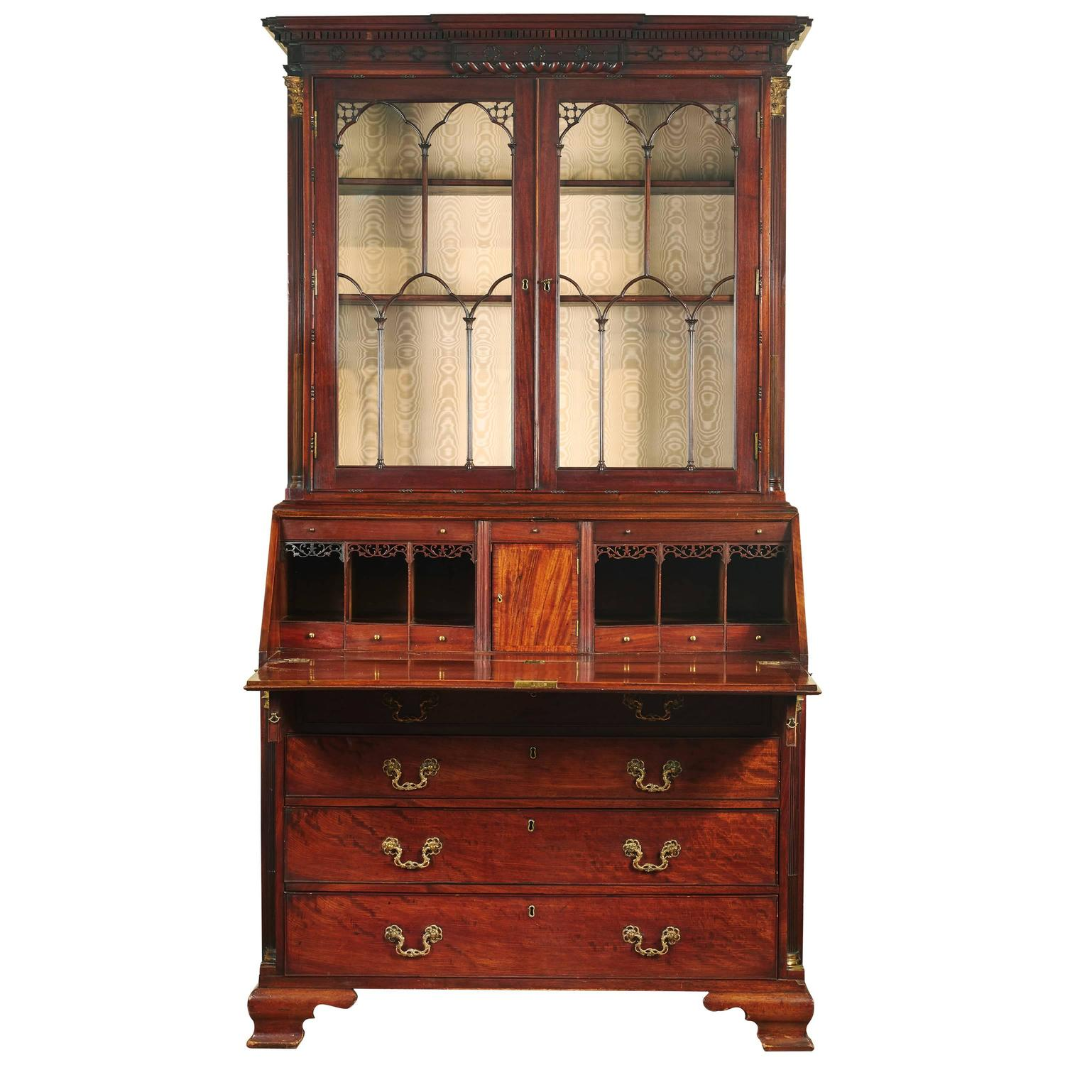 fine george iii mahogany brass mounted bureau bookcase at 1stdibs. Black Bedroom Furniture Sets. Home Design Ideas