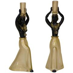 Black and Gold Murano Glass Candle Sticks, Italy, circa 1940s