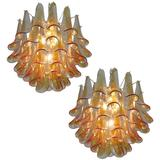 Pair Murano Petals Glass Chandelier, 1970s