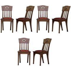 Six Arts & Crafts Style Oak Chairs by Léon Jallot, France, circa 1910