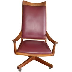 John Nyquist, Executive Swivel, Chair or Armchair in Walnut / Leather