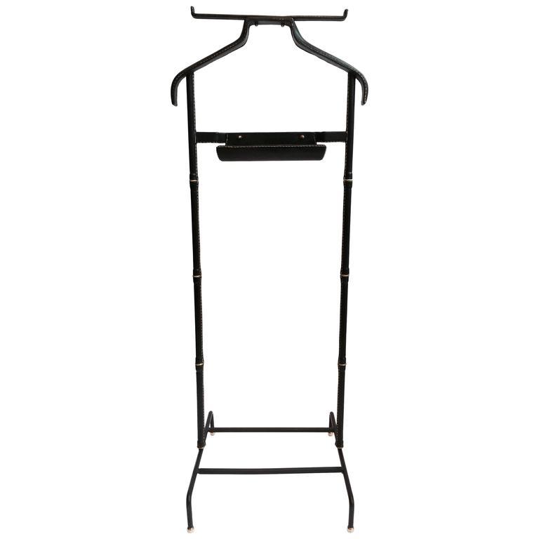 jacques adnet 1950 39 s black leather valet de nuit at 1stdibs. Black Bedroom Furniture Sets. Home Design Ideas
