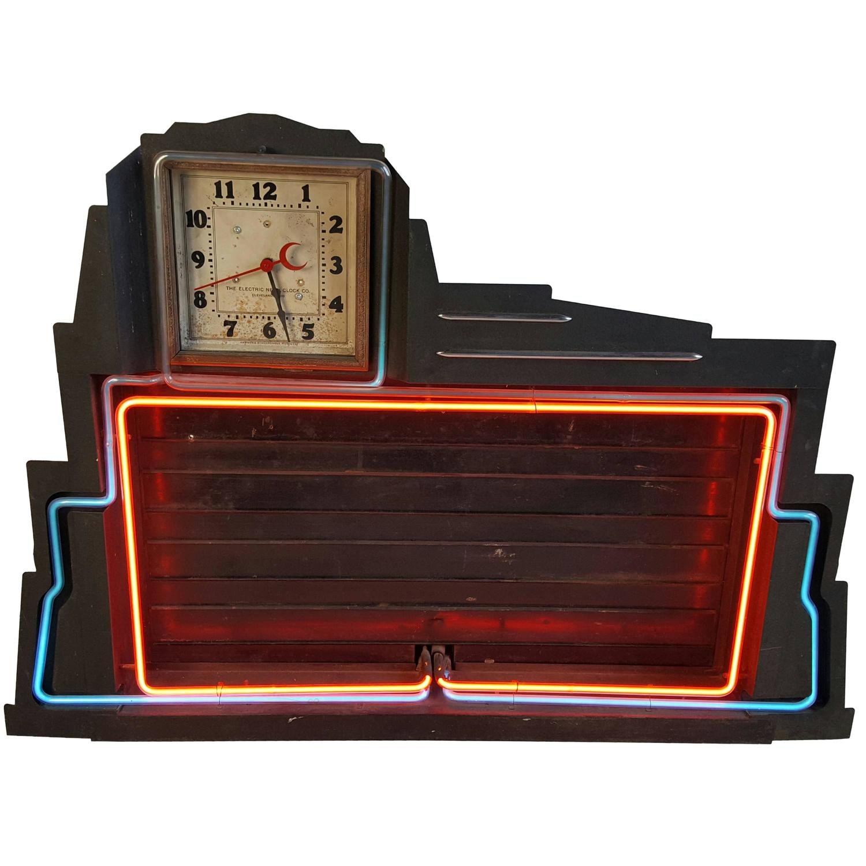 Classic Art Deco Two-Color Neon Clock and Sign, Menu Board